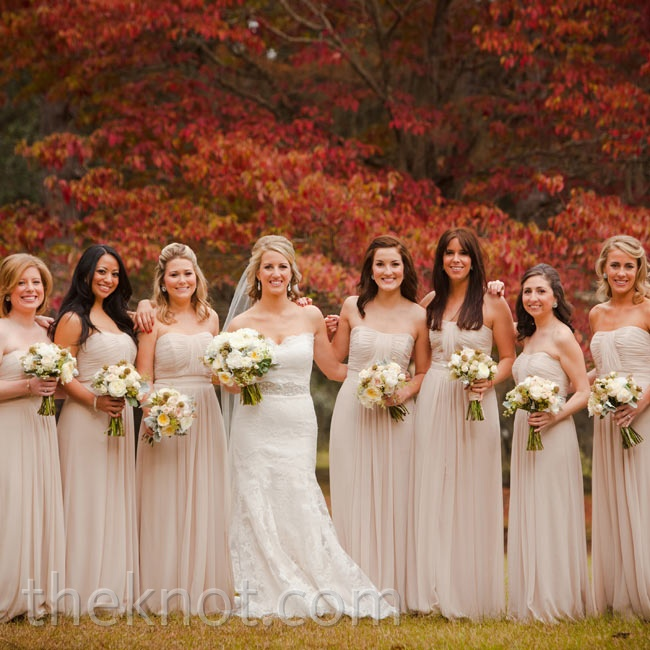 Sophie picked a long, strapless style in a champagne color because she knew it would flatter all of her bridesmaids.
