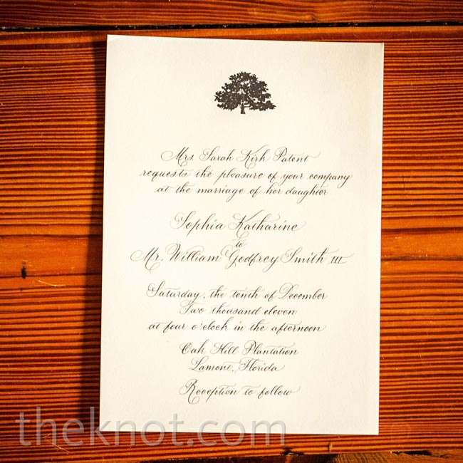 "Instead of black ink, which felt ""too harsh"" for an outdoor wedding, the invites were printed with a more mellow gray type."
