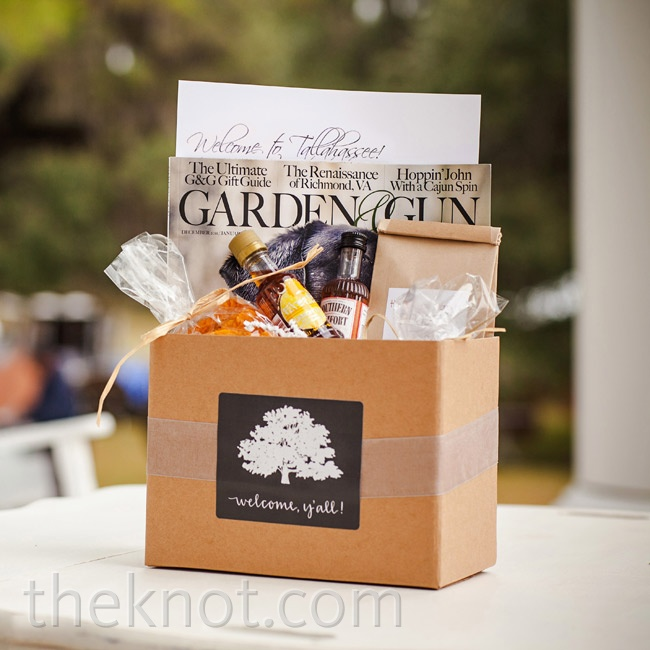 Each guest got a welcome bag filled with local must-haves like samples of Southern Comfort, sweet tea vodka, and a copy of Garden & Gun magazine.