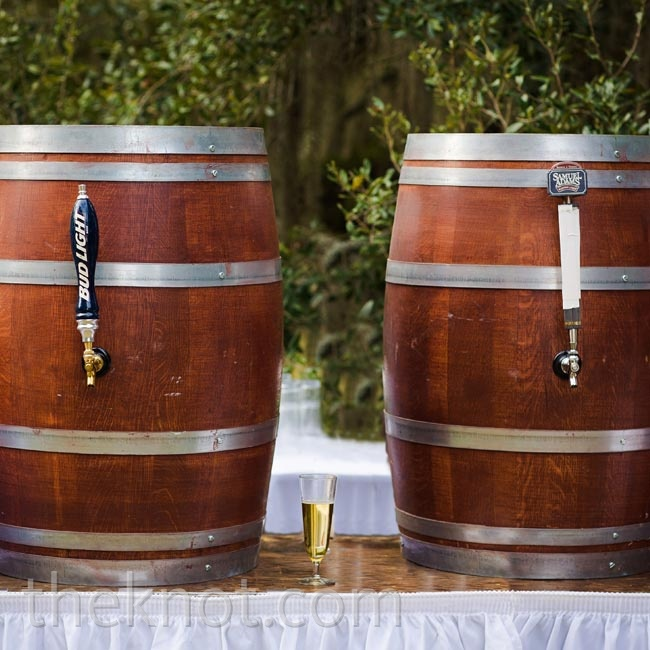 Two kegs camouflaged in barrels kept the party going and brought a casual southern vibe to the reception.