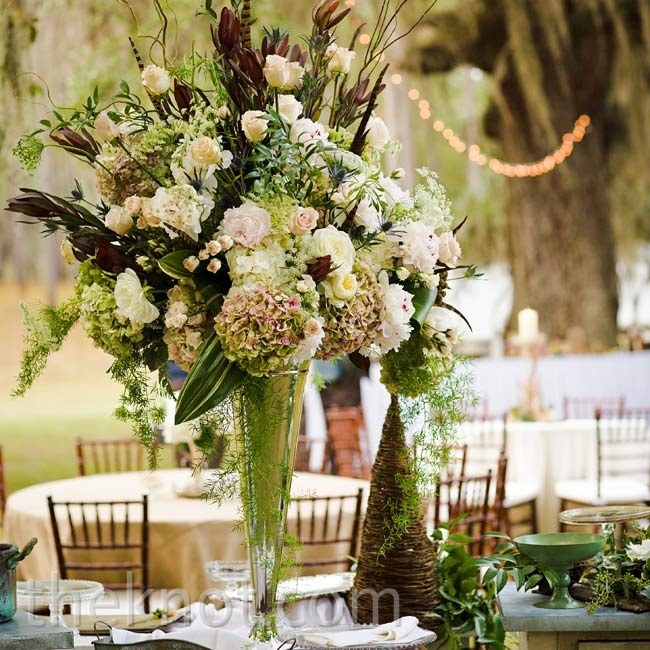 Rustic Pink And Ivory Centerpieces