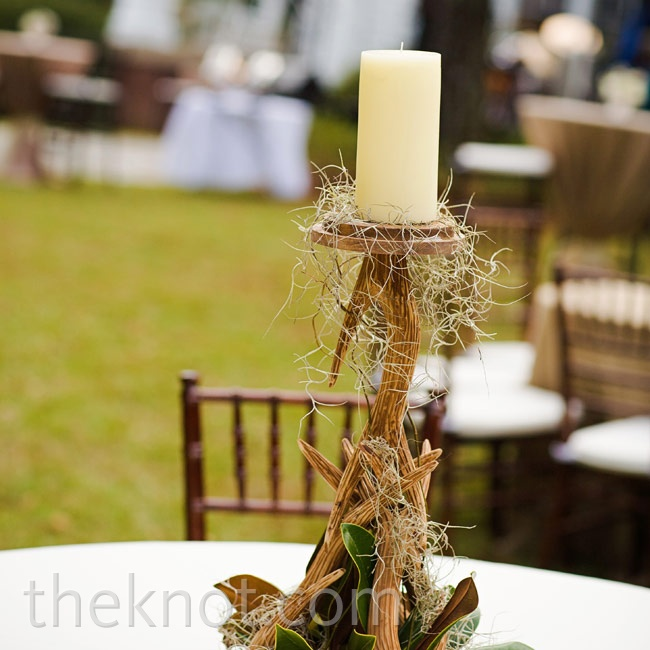Candlesticks that resembled antlers helped reinforce the wedding's rustic theme.