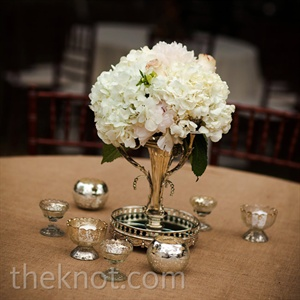 White and Pink Hydrangea Centerpieces