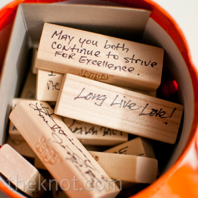 Hillary and Adam asked guests to sign Jenga blocks so that when the couple plays the game in the future, they can enjoy the notes and well wishes.