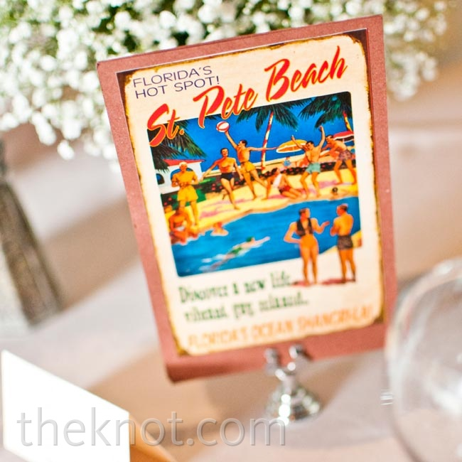 In lieu of table numbers, the couple named each table after a location that was special to them, and labeled it with a vintage postcard.