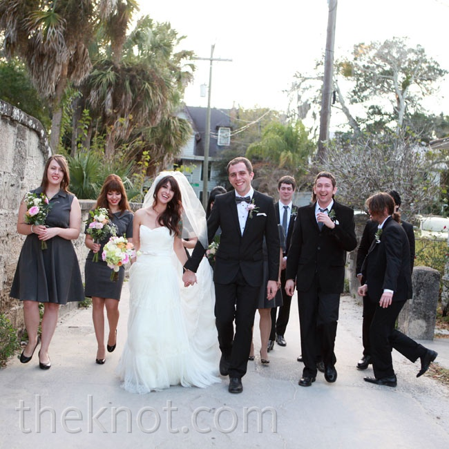 With the bridesmaids in chic collared dresses and the guys in black suits, the party looked sharp but not too formal.