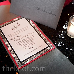 Black-and-White Paisley Invitations