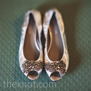 Chrystl's jewel-encrusted silver flats struck the perfect balance between style and comfort.