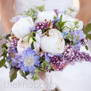White and Purple Bridal Bouquet