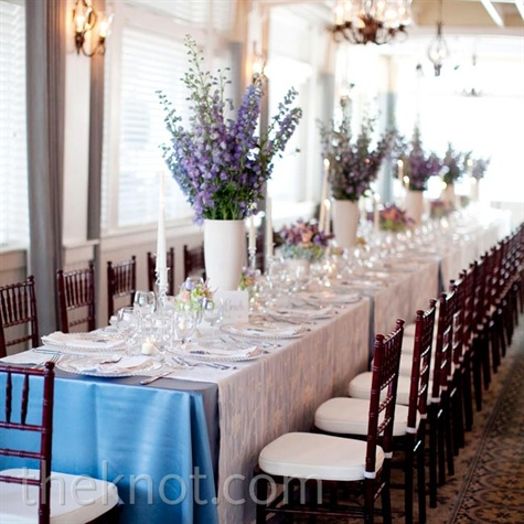 Blue and White Reception Decor