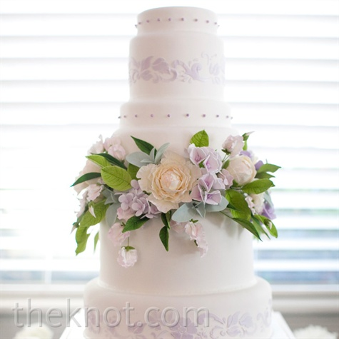 White-and-Lavender Wedding Cake