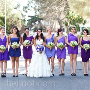 Alli wanted to show off her bridesmaids' fabulous individual styles, so she let each of them choose their own purple dress.