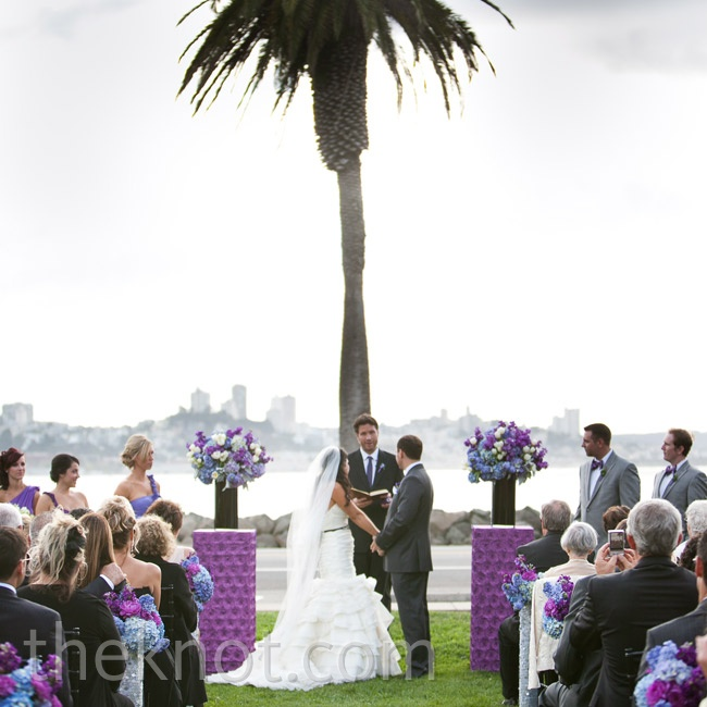 The couple infused vivid purple into the day's details right from the start.