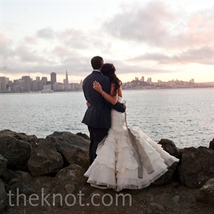 The couple chose Treasure Island for its views of the city where they fell in love.