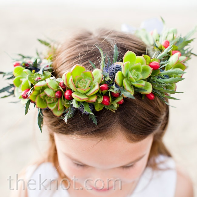 Jenn's cousin's daughter wore a halo crown of succulents.