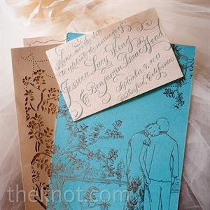 Foreshadowing the wedding design to come, a custom-illustrated invitation with a laser-cut sleeve announced the day.