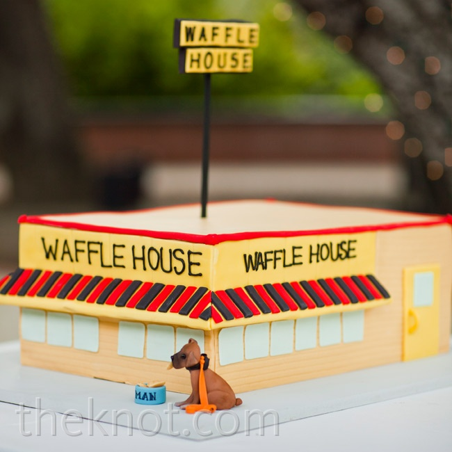 The couple commissioned a fun cake to play up their shared hobby of visiting Waffle House locations across the country!