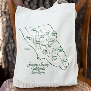 Guests received illustrated canvas totes filled with local goodies.