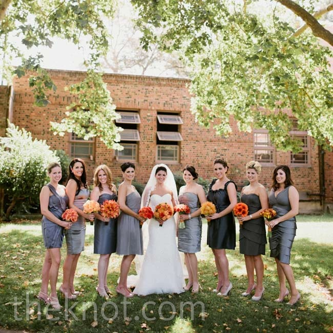 Each bridesmaid wore her own silver or gray dress.