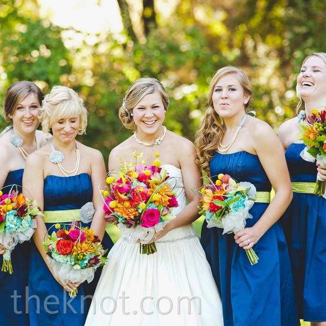 Tami's friend designed the girls' green sashes and multi-strand necklaces to coordinate with their royal-blue dresses.