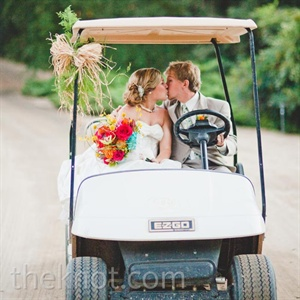 The couple rented a golf cart for the day to navigate the property (and to sneak in some fun photos!).