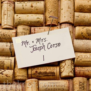 Joseph's brother Matthew made a board out of a thousand halved wine corks; the escort cards were attached to it with pins.