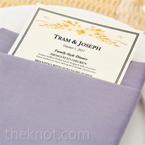 Crisp rectangular menu cards peeked out from folded pewter napkins.
