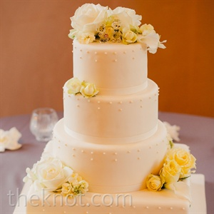 White and Yellow Floral Cake