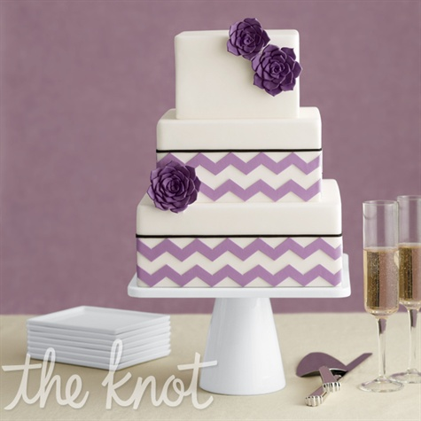 Purple chevron wedding square cake