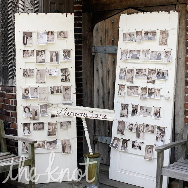 Vintage doors made a sweet display for family photos.