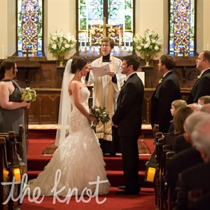 The couple had a traditional church ceremony prior to the barn reception.