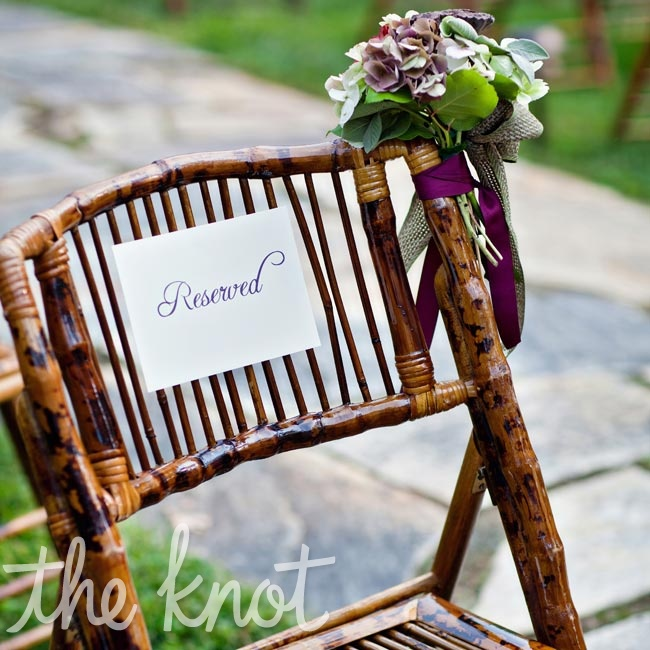 Samantha and Andrew brought in bamboo chairs for the ceremony to blend in with the venue's natural environment.
