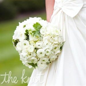 Hydrangeas and ranunculus made up Allie's white bouquet.