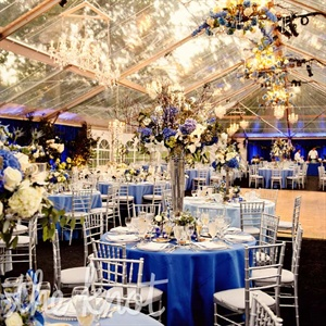 From floral chandeliers to soaring centerpieces and linens in varying shades of blue, every corner of the clear-sided tent had something to look at.