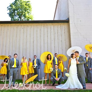 Bright yellow dresses for the women and matching ties for the men had a cheerful look.