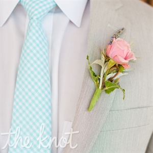 Pink Rose Groomsmen Boutonniere