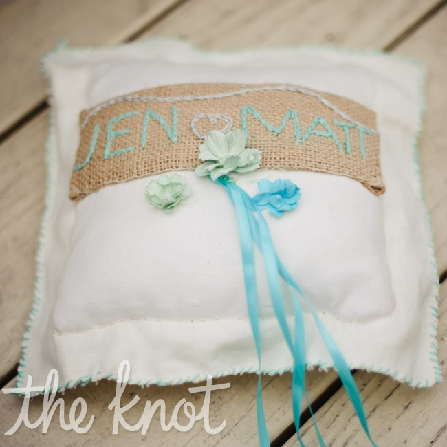 Jen's nephew (one of the ring bearers) carried this handmade pillow.