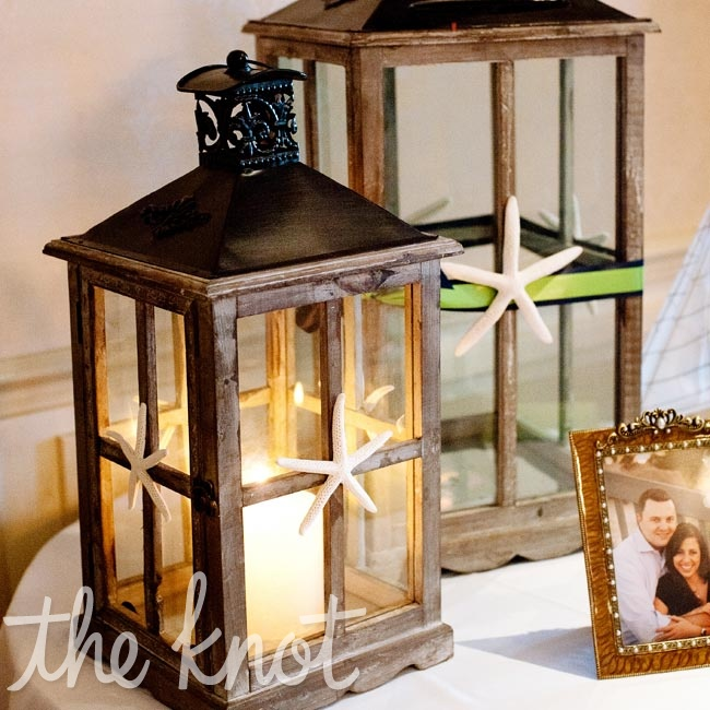 Two antique-looking lanterns decorated the gift table; guests placed their wedding cards in the larger one.