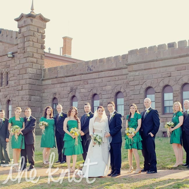 The bridesmaids wore emerald silk taffeta dresses.