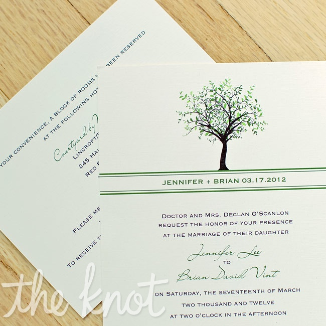 Much of the couple's stationery had a tree motif.