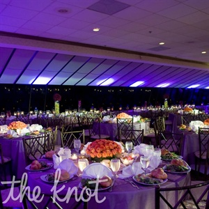 Orange and Purple Reception Decor