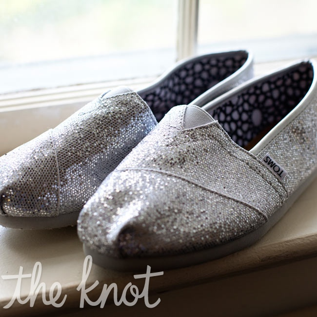 Instead of heels, Sarah chose comfy silver TOMS-she got a glitzy pair for the special occasion.