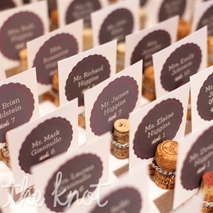 Escort cards were displayed with wine bottle corks collected over the years by Sarah, Clint and their friends and family.