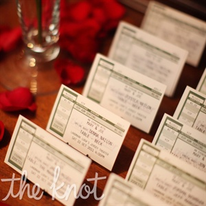 Guest found their seats with music-hall-themed ticket-stub escort cards.
