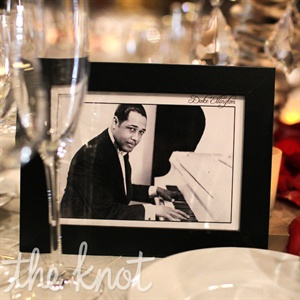 Each reception table was named after a great performer who'd graced the venue's stage-like Duke Ellington.