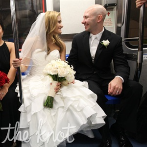 After the ceremony, the couple took the PATH train with their bridal party to the reception.