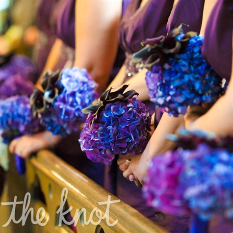Deep-purple Bridesmaid Bouquets