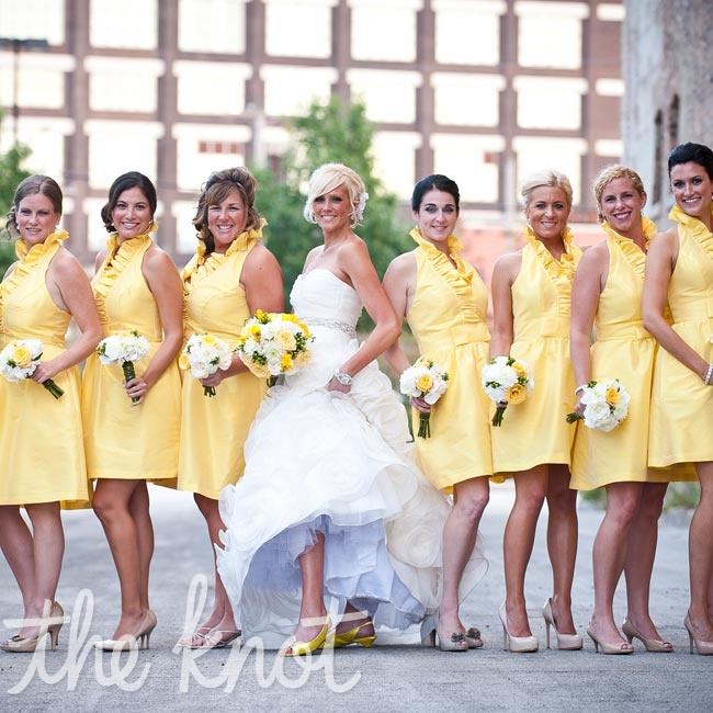 "These yellow, ruffled halter dresses had the ""happy, summery"" color and ""artsy and fun"" look that Brenda wanted."