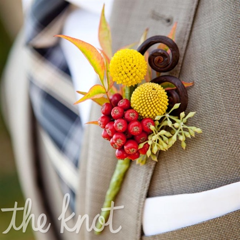 Berry and Fern Boutonniere