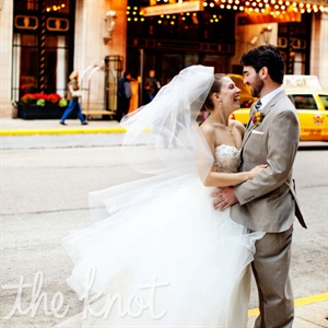 Meagan loved the way her Lazaro dress had a classic ballgown shape, but a fun, fluffy tulle skirt.